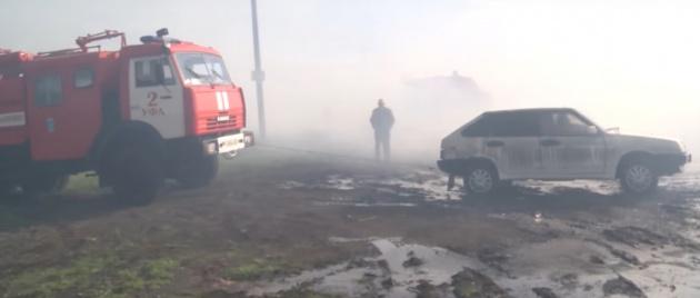 Под Уфой произошел масштабный пожар в гаражном кооперативе