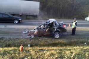 Photo of В Башкирии легковой автомобиль въехал во встречную фуру и загорелся, погибли два человека
